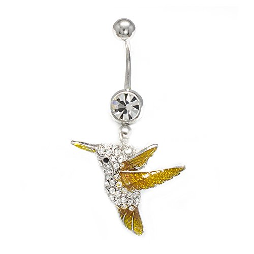 Belly Button Ring 14G Cute Dangle Hummingbird Clear CZ Gems Navel Jewelry