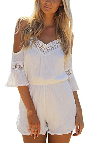 PAKULA Women's Blackless Romper Spaghetti Strap Short Jumpsuits Playsuit