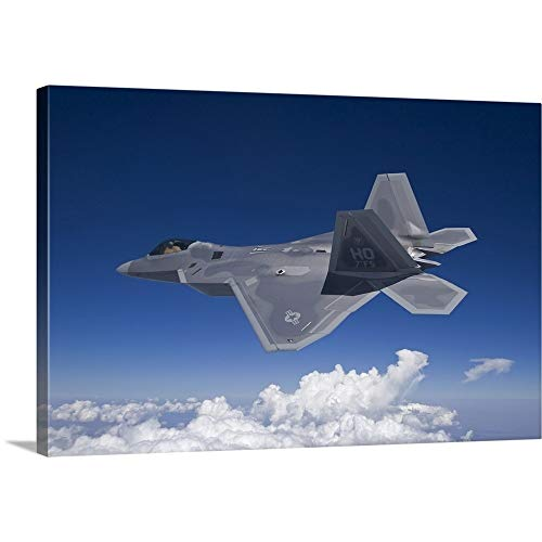 HIGH-G Productions Premium Thick-Wrap Canvas Wall Art Print Entitled an F-22 Raptor Flies Around Southern New Mexico ()
