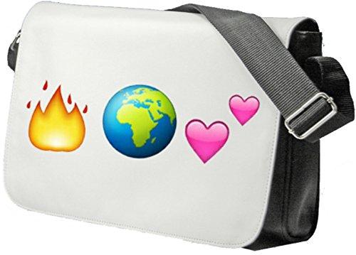 """Schultertasche """"Feuer und Weltkugel ist gleich Zwei Herzen (Liebe)"""" Schultasche, Sidebag, Handtasche, Sporttasche, Fitness, Rucksack, Emoji, Smiley"""