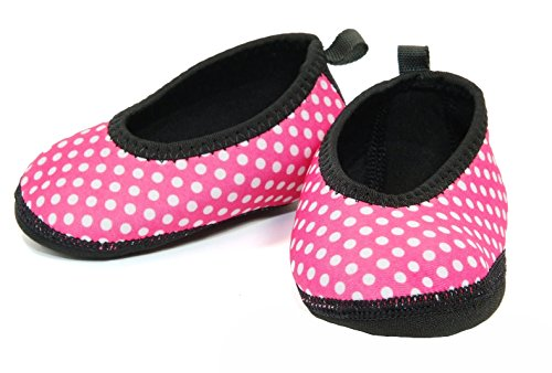 - Nufoot Indoor Toddler Shoes Ballet Flat, Pink with White Polka Dots, Size 9T- 12T 2 Count
