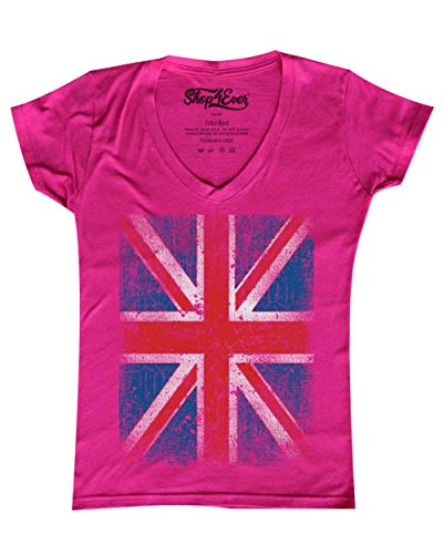(Shop4Ever Vintage Union Jack British Flag Women's V-Neck T-shirt United Kingdom Flag Shirts X-Small Pink 0 )