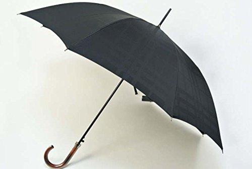バーバリー BURBERRY メンズ ジャンプ 持ち手ウッド×チェックデザインが素敵な 雨傘 (長傘)/ 黒(ブラック) 紳士 ブランド傘 傘 かさ B00T41JV60