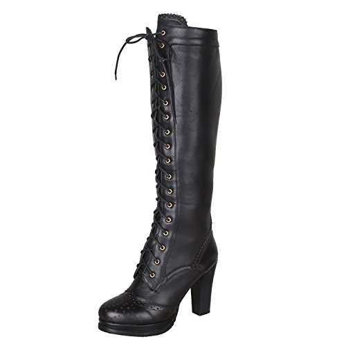 Women's Retro Sheepskin + PU Leather Lace Up Block Heel Punk Knee High Dress Boots (CN 38 = US 7) Black]()