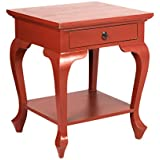 East At Main Mahogany Square Accent Side End Coffee Table, Sargent Red, (21.5x20x25.5)