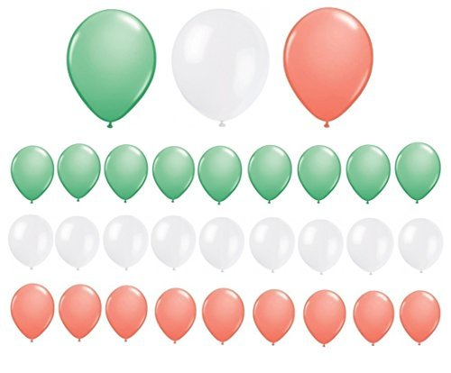 Assorted Mint Green, Coral and White Latex Balloons (30 Count)