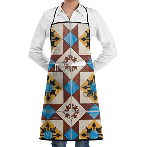 Yunilya Lisbon Mosaic Grill Aprons Kitchen Chef Bib Funny Aprons for Barbecue Grill Kitchen Gift -