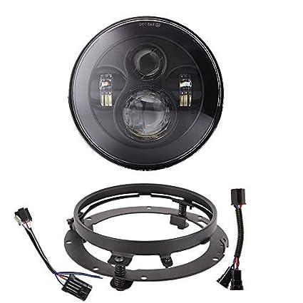 413x XnmRqL._SX425_ amazon com 7 inch led headlight with mounting bracket h4 h9 h11