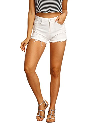 MAKEMECHIC Women's Frayed Raw Hem Ripped Distressed Denim Shorts White M