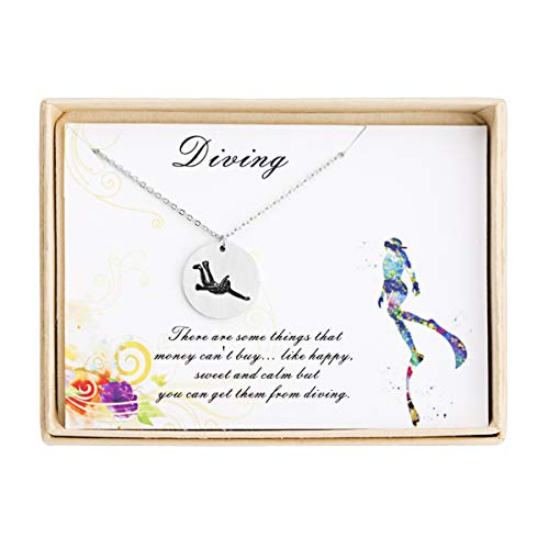 Jdesign Scuba Diving Necklace Disc Sport Pendant Necklace Ucuba Diver Jewelry Diving Lover Gift Sports Love - Jewelry Diving