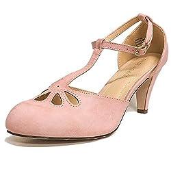 Chase Chloe Kimmy 36 Women S Teardrop Cut Out T Strap Mid Heel Dress Pumps 10 Rose Pink Pu