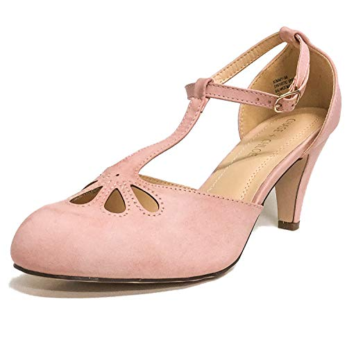 Chase & Chloe Kimmy-36 Women's Teardrop Cut Out T-Strap Mid Heel Dress Pumps (6, Rose Pink PU)