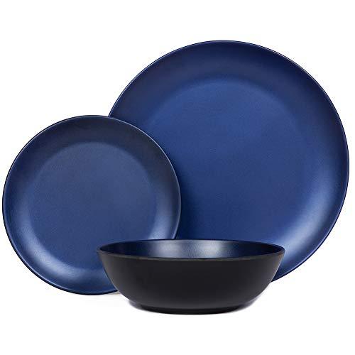 Melamine Dinnerware Sets – 12pcs Plates and Bowls Set for Indoor Outdoor Use, Dishwasher Safe, Break-resistant, RV…