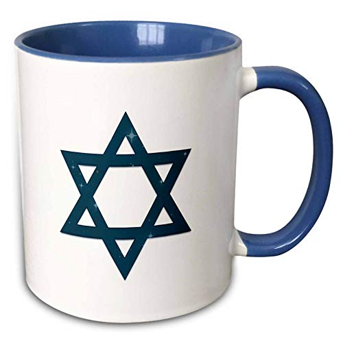 3dRose Alexis Design - Star of David - Dark blue Star of David decorated with blue stars on white - 11oz Two-Tone Blue Mug (mug_300034_6)