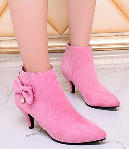 Idifu Womens Elegante Hanger Puntige Toe Enkellaarzen Half Hakken Stiletto Zip Up Booties Met Strik Roze