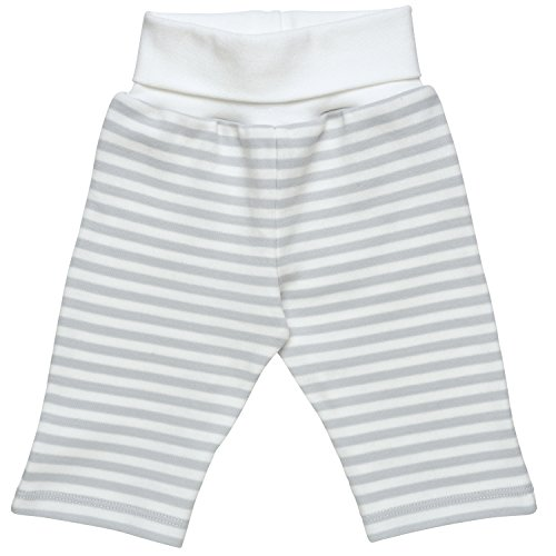 Organic Baby Yoga Pants (Under the Nile Unisex Baby Pant with Foldover Waistband Size 0-3M Grey Stripe Organic Cotton)