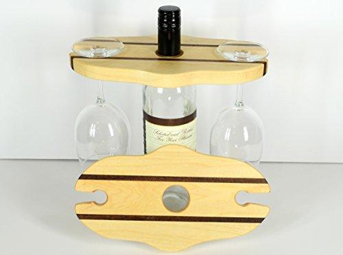 Wine caddy, picnic server, kitchen decor, durable wood bottle rack, travel storage, wood accent caddie, drinking glass carrier, maple