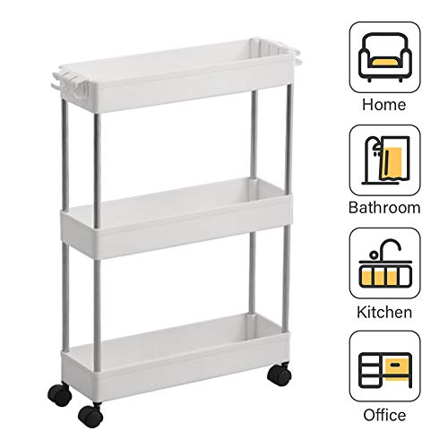 3 Tier Slim Storage Cart Mobile Shelving Unit Organizer Slide Out Storage Tower Rolling Utility Cart Shelving Tower Rack for Kitchen Bathroom Laundry Narrow Places, Plastic & Stainless Steel, -