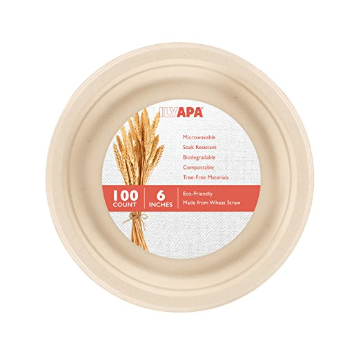 100 Biodegradable Disposable Plates - 6 Inch Compostable & Microwavable Wheat Straw, Tree Free Plates for Dessert or Appetizer, Bulk Set (Paper Plates Appetizer)