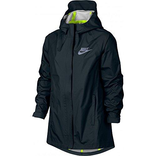 (Nike Kids Sportswear Jacket Little Kid/Big Kid Black/Black/Volt/Reflective Silver Girl's Coat 806399 010 (s))