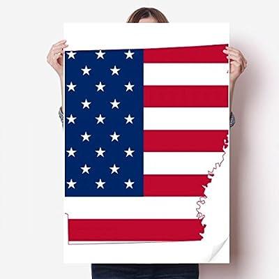 DIYthinker Arkansas America Map Stars Stripes Flag Shape Vinyl Wall Sticker Poster Mural Wallpaper Room Decal 80X55cm