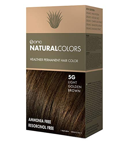 ONC NATURALCOLORS Healthier Permanent Hair Color, Certified Organic Salon Quality Hair Dye, Ammonia-free, Resorcinol-free, Paraben-free, Low pH, Best Hair Coloring (5G Light Golden Brown)