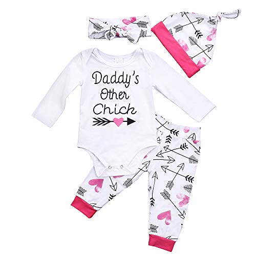 Emmababy Newborn Girls Clothes Baby Romper Outfit Pants Set Long Sleeve Toddler Infant Summer Clothing (Dady's Other Chick, 12-18Months)]()