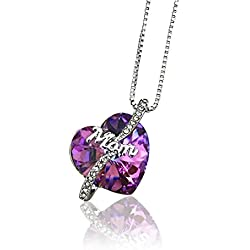 """Best Gifts for MOM, Mother's Day Gift, Birthday Gift. """"MOM"""" Swarovski Purple Heart Pendant """"Nothing Like Mom's Love"""" Necklace by Foxy Lady Jewelry"""