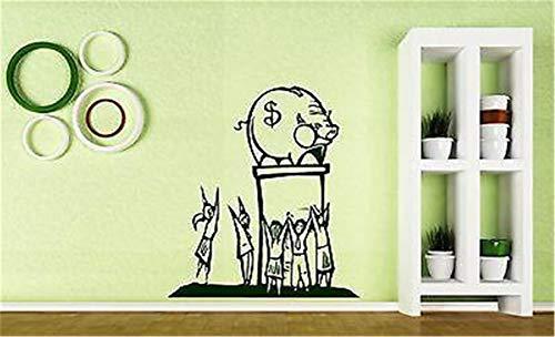 menlay Vinyl Wall Statement Family DIY Decor Art Stickers Home Decor Wall Art People Worship Money Pig Piggy Bank ()