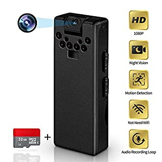 LZHZJOY Hidden Camera No WiFi Needed HD 1080p Mini Spy Camera Video Recorder Portable Voice Recorder for Office-Lectures-Meetings-Classroom(32GB Card)