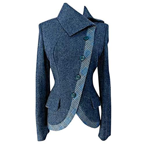 VigorY Casual Sweater Suit Women Plus Size Coat Thick Warm Diagonal Collar Side Buttoned Vintage Outerwear Blouse Blue