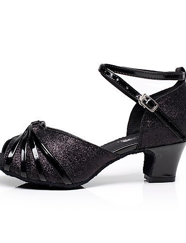us7 5 uk5 Heel SNEED Salsa Dance Cuban Latin cn38 Shoes eu38 Black Women's Silver black Leatherette 5 wqZ0wP6