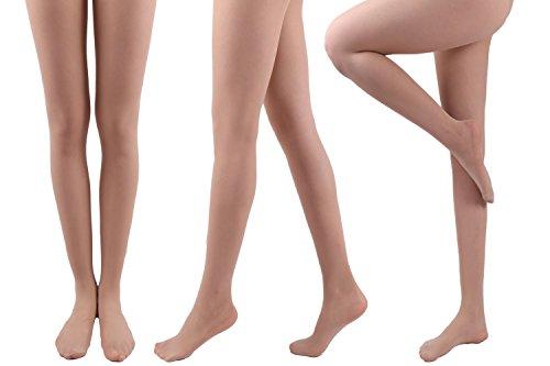Soft Womens Pantyhose (CozyWow Womens T Crotch 20 Denier Durable Full Length Spandex Sheers Pantyhose (Nude))