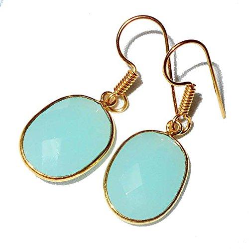 - Sitara Collections SC10322 Gold-Plated Earrings, Aqua Onyx Quartz