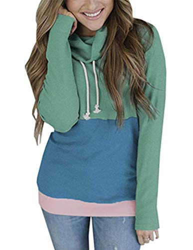 Womens Patchwork Pullover Drawstring Sweater Long Sleeve Casual Sweatshirts Blouses Tops