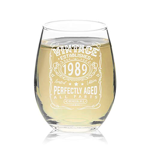 Veracco Vintage Established 1989 Perfectly Aged Stemless Wine Glass 30th Birthday Gift For Him Her Dirty Thirty (1989, Stemless Glass)