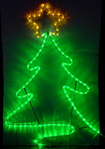 (SUNNY SHOWER LED Christmas Tree 2D Shaped Festival Decoration Light 120V Waterproof Hanging Led String Light for Home Garden Outdoor, Green & Yellow Color, 1 Pack)