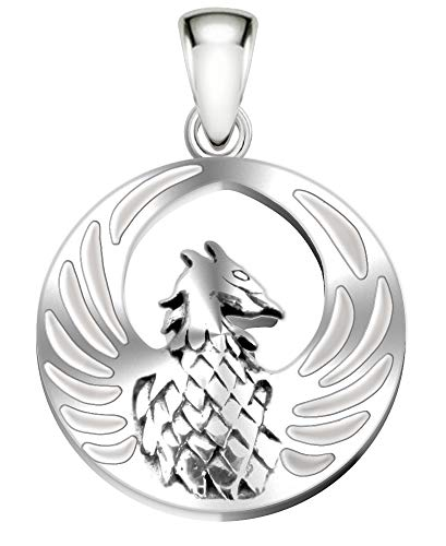 Inlaid Sterling Silver Pendant - US Jewels And Gems 7/8in 0.925 Sterling Silver Phoenix Bird Inlaid Simulated Mother of Pearl Pendant