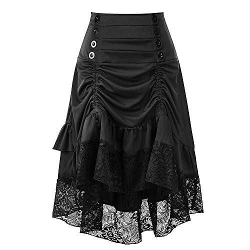 LISTHA Retro Black Lace Skirt for Women Fashion Club Wear Gothic Punk Clothing Party -