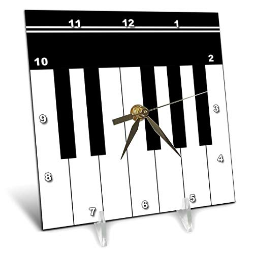 3dRose dc_112827_1 Piano Keys-Black and White Keyboard Musical Design-Pianist Music Player and Musician Gifts-Desk Clock, 6 by 6-Inch