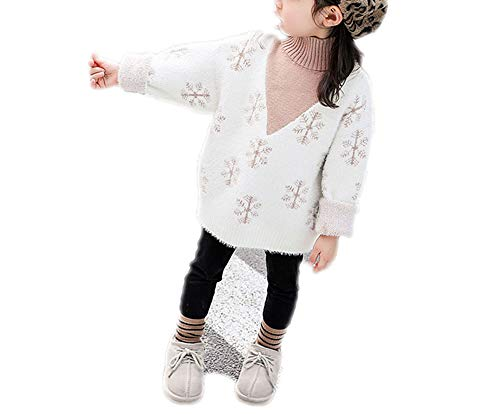 Endand Children Baby Imitated Mink Cashmere Sweaters Winter Turtleneck Sweaters Knit Kids Pullover Snowflake Ivory 5T (Cashmere Baby Doll Sweater)