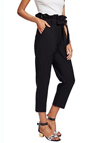 SheIn Women's Ruffle Tie Waist Pants with Pockets Small Black (T-shirt 07 Womens)