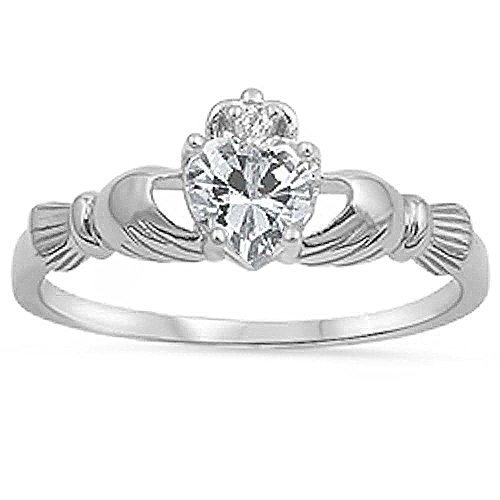 Irish Claddagh Clear Cz Heart Ring Size 7 (Irish Heart Ring compare prices)