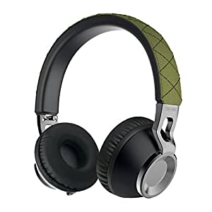 Sound Intone CX-05 Stereo Folding Portable Music Headsets Headphones In-line Microphone Remote Control with Detachable 3.5 mm Tangle-Free Fabric Cable Stretchable Metal Headband with Soft Earpads Earpieces for Iphone and All Android Smartphones Computer PC Laptop Mp3 Mp4 Tablet Wired Headphone(Green) by Sound Intone