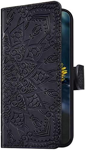 Uposao Kompatibel mit Samsung Galaxy A50 Handyhülle Leder Hülle Flip Schutzhülle Henna Mandala Muster Brieftasche Handytasche Wallet Bookstyle Case Cover Magnet Ständer Kartenfach,Schwarz