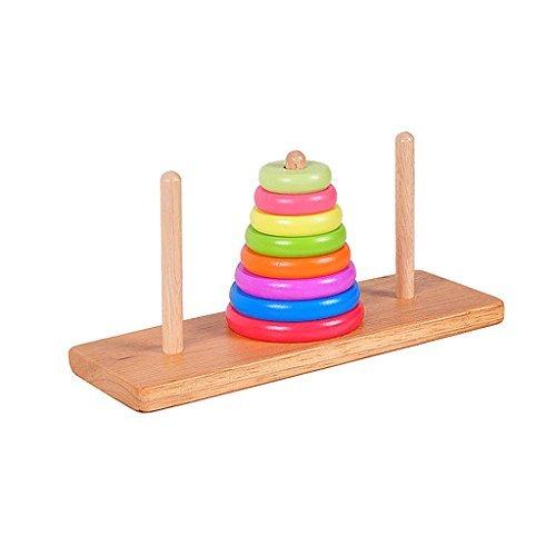 【ノーブランド品】子供 ハノイ おもちゃ 頭の体操 ゲーム ファミリー 楽しい おもちゃ 伝統的 木製の塔 贈り物