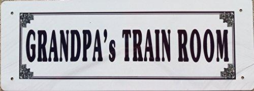 R&R Grandpa's Train Room Tin Sign - Great Gift For Grandpa !