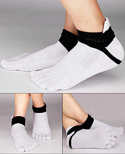 Men Cotton Low Cut Toe Socks 5 Finger No Show Mesh Wicking 6 Pack 9 Pack