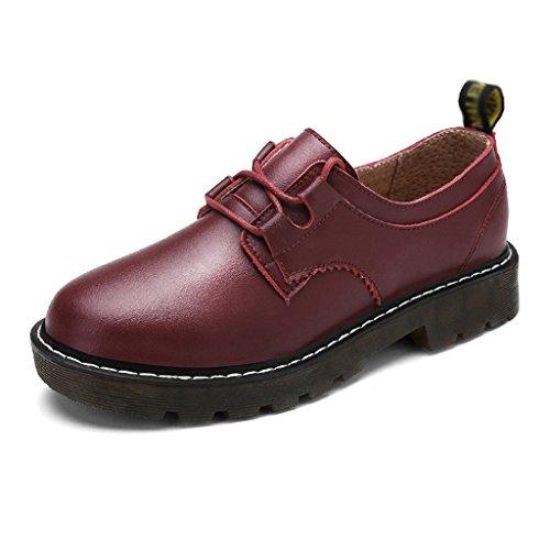 rouge Casual Chaussures Rouge Étudiant Printemps Chaussures Couleur femme Martin Vin Vin 38 Plat Femmes Cuir simples Style HWF taille En British Femme Chaussures College wSPq7dPH