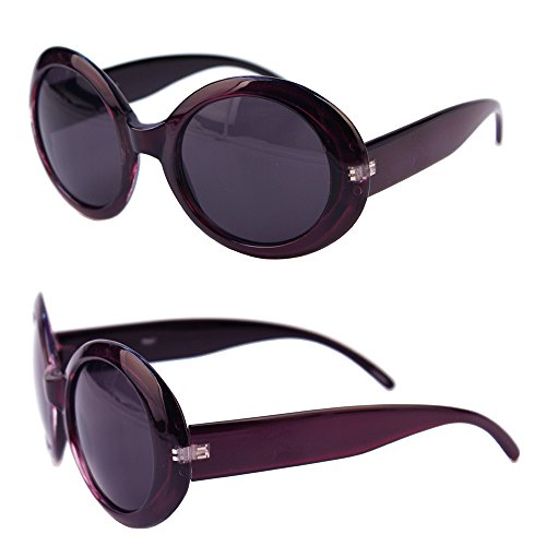 Pop Fashionwear Womens Fashion Circle Round Jackie O Bold Chic Sunglasses P547 (Purple-Smoke - Jackie Sunglasses